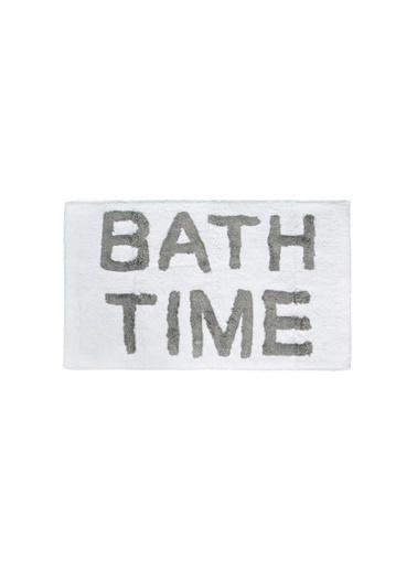 İrya Home&More Pamuk Banyo Paspası Bath Tıme Beyaz/Mavı 51*81 Gri